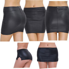 Womens Fashion Faux Leather Skirt Buckles Fitted Zip Up Bodycon Short Mini Skirt