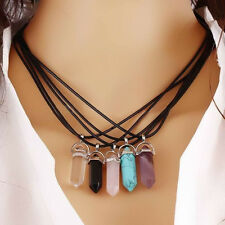 Natural Crystal Stone Point Chakra Healing Gemstone Pendant Necklace Gift