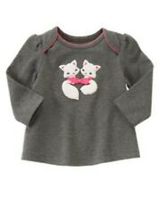 NWT Gymboree Girls Fun Flurries Gray Kittens Top Size 0-3 3-6 6-12 12-18 18-24 M