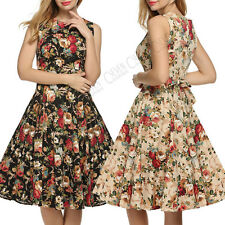 Women 50/60s Vintage Rockabilly Pinup Floral Party Formal Dress Skirts Hepburn