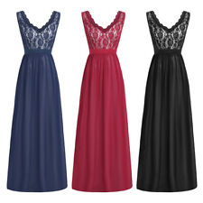 Women V Neck Lace Floral Chiffon Evening Bridesmaid Formal Party Long Dress NEW