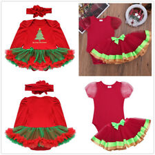 Toddler Baby Girl Xmas Santa Party Romper Dress Tutu Bodysuit Outfit Clothes Set