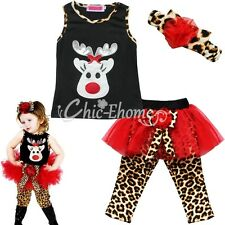 Baby Girl Christmas Clothes Set T-shirt Tops+Leopard Skirt Leggings Pants Outfit