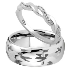 Tungsten Camouflage Camo Band & 925 Sterling Silver Twisted CZ Wedding Ring Set
