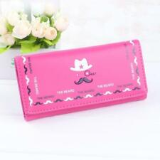 Pink Moustache Credit Card Checkbook Organizer Lady Wallet Clutch New Fashion