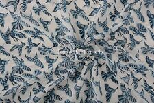 Block Print Fabric By Yard Cotton Voile Bird Indian Sanganeri Fabric For Cloths