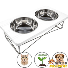 Elevated Feeder Pet Cats Small Dogs Raised Stand Food Water Bowl Wooden Indoor