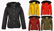 New Ladies Anorak Padded Puffer Quilted Bubble Coat Faux Fur Hood Womens Jacket