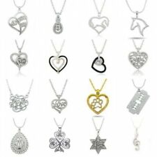 Crystal Heart Teardrop Horse Family Chain Womens Necklace Pendant New Year Gifts