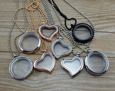 Living Memory Floating Charms Locket Round /Heart Glass Pendant Necklace Charms