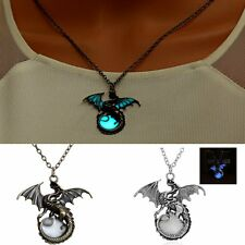 Men Vintage Glow in the Dark Gem Dragon Chain Pendant Jewelry Necklace New