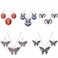 Fashion Animal Panda Butterfly Necklace Statement Earring Set Jewelry Party Gift
