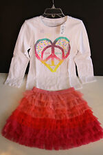 NWT THE CHILDREN'S PLACE OUTFIT TUTU TULLE SKIRT & LOVE PEACE TOP Size 4 & 5/6