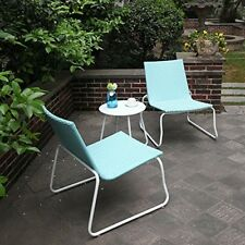 Wicker Furniture Bistro Set Outdoor All Weather Handmade 3Pcs White Chairs Table
