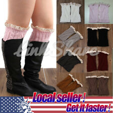 US Women Winter Leg Warmers Lace Crochet Knit Boot Socks Toppers Cuffs st