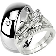 925 Sterling Silver Engagement Princess Cut CZ Wedding Ring Set & Tungsten Band