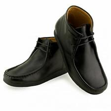 MENS WINTER CASUAL LACE UP BLACK LEATHER ANKLE DESERT WALLABEE BOOTS SHOES UK