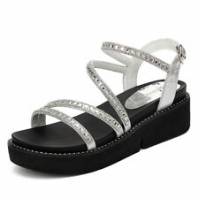 Girls Womens Platform Wedge Creeper Gladiator Sandals Shoes Flat Faux Leather