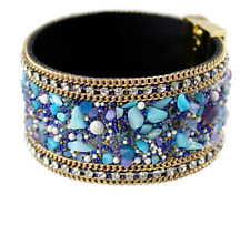 Ladies Jewelry Stones Bracelet Fashion Leather Magnetic Clasp Bangle Accessories