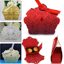 50pcs Lace Laser Cut Cake Candy Gift Boxes with Ribbon Wedding Party Favor Boxes