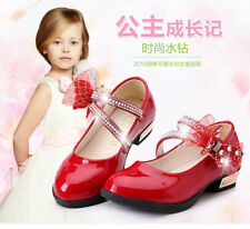 Fashion Children Girls High Heel Shoes Princess Party Shoes Bow Leather Shoes Sz