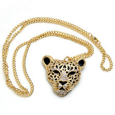 Crystal Queen Diamond Leopard Head Jewelry 1 Pcs Sweater Chain Necklace Bling