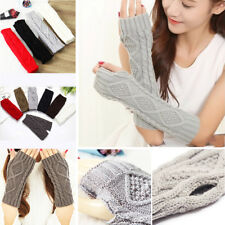 Women Mens Knit Crochet Long Fingerless Winter Gloves Arm Warmer Mitten Fashion