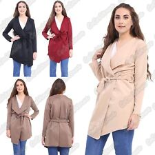 New Ladies Waterfall Belted Plain Long Sleeve Short Trench Coat Open Jacket 8-26