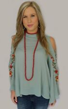 NEW Umgee Kylie Top Dusty Blue Cold Shoulder With Floral Embroidery Size S-L