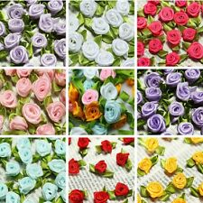 100 Ribbon Rose DIY Wedding Flower Satin Decor Bow Appliques Craft Sewing Leaves