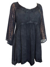 Womens plus size 26 28 30 32  Top embroidered lace romantic tunic Black