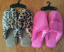Womens-House-Slippers-Size-XL-11-12-Hot-Pink-Leopard-Print-Flat-Slide-On-Scuffs