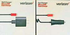 New Original Verizon Wall & Car Charger Rapid Charge Charger for Micro USB Cable