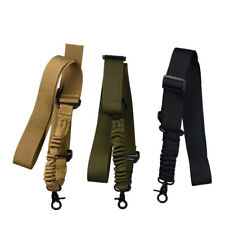 1 Single Point Adjustable Tactical Bungee Rifle Airsoft Durable Sling Strap Hook