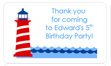 PERSONALISED STICKERS LABELS ADDRESS PARTY NAUTICAL BOAT LIGHTHOUSE SEA 2