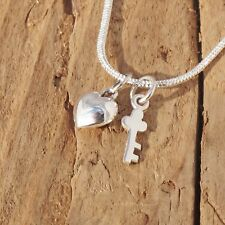 Sterling Silver Tiny Key And Heart Charm Love Necklace Valentine Gift Boxed