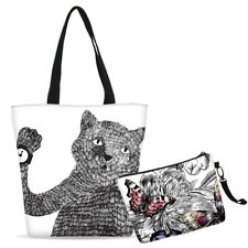 Cat & Butterfly Pattern Tote Bag w/ Cosmetic Bag Daily Shoulder Bag Makeup Pouch