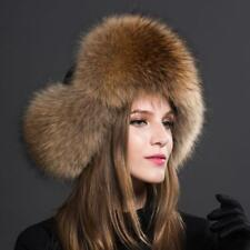 Womens Ladies Real Fox Fur Hat Russian Ushanka Lamb cloth Top Warm Winter 2018