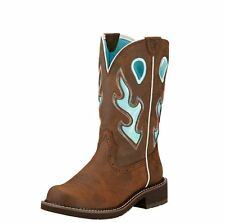 Ariat Women's Fatbaby Heritage Blue Flame Tall Western Work Boots #10017406