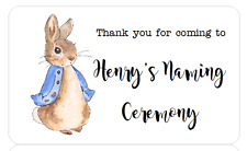 PERSONALISED STICKERS ADDRESS LABELS BABY SHOWER PETER RABBIT NAMING CEREMONY