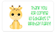 PERSONALISED STICKERS LABELS ADDRESS PARTY JUNGLE ANIMALS GIRAFFE ELEPHANT