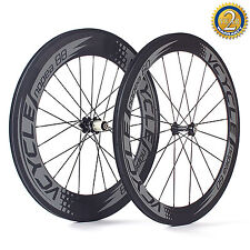 700C Carbon Fiber Bicycle Wheels Pair Front 60mm Rear 88mm Clincher Wheelset New