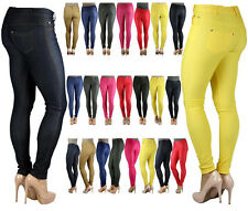 WOMENS LADIES SKINNY FIT COLOURED STRETCH JEANS NEW JEGGINGS SIZE 8-26 PLUS SIZE