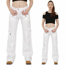 New Womens Ladies White Lightweight Wide Loose Leg Cargo Pants Combat Trousers