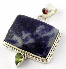 Natural Sodolite,Garnet,Peridot Rectangle,Round,Pear 925 Sterling Silver Pendant