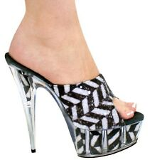 """Kitty Paws Shoes Black White Glitter Open Toe Animal Print Clear High 6"""" Pumps"""