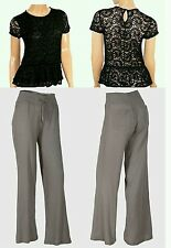 Ladies Summer  Grey Trousers & Short Sleeve Floral Womans  Black Peplum Top 8 10