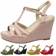 Beverly Womens High Heels Wedges Platforms Peep Toe T Bar Ladies Shoes Size New