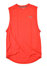 Under Armour 0782 Mens Red Tech Muscle Athletic Training Workout Gym Sports Tank