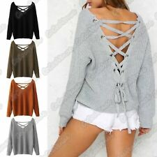 New Ladies Long Batwing Sleeve Lace Up Back Loose Fit Knitted Jumper Sweater Top